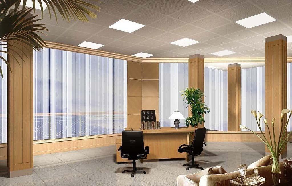 Kontor med LED paneler
