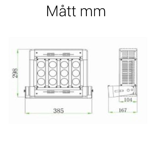LED strålkastare 100W mått