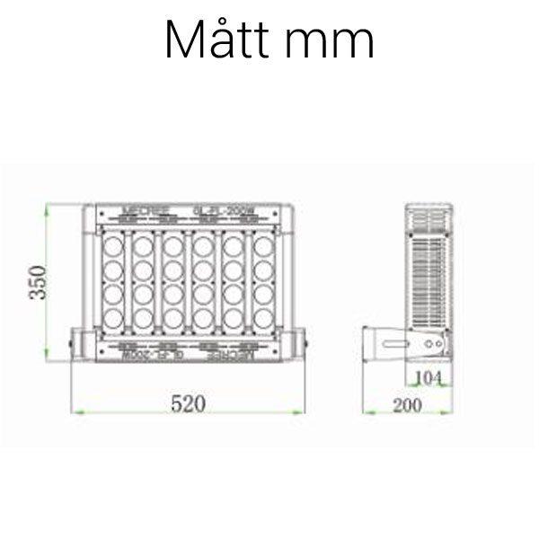 LED strålkastare 200W mått