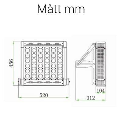 LED strålkastare 300W mått