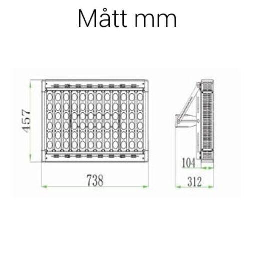 LED strålkastare 700W mått
