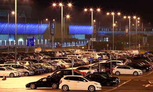 LED parkering med bilar