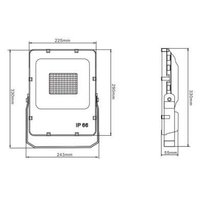 LEDstrålkastare 50W IP66 mått