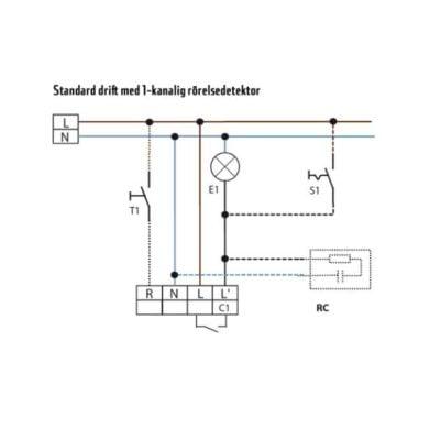 Väggmonterad närvarodetektor med akustiksensor inkoppling