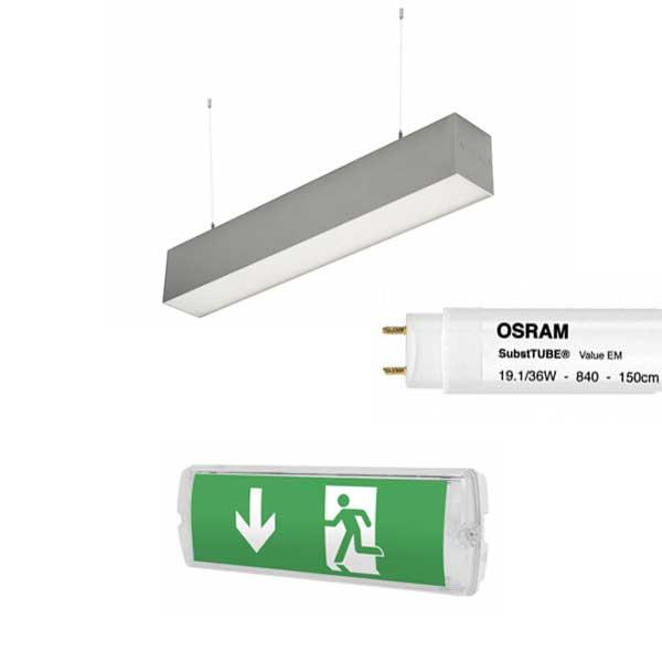 Pendlade armaturer Utrymningsskyltar LED lysrör