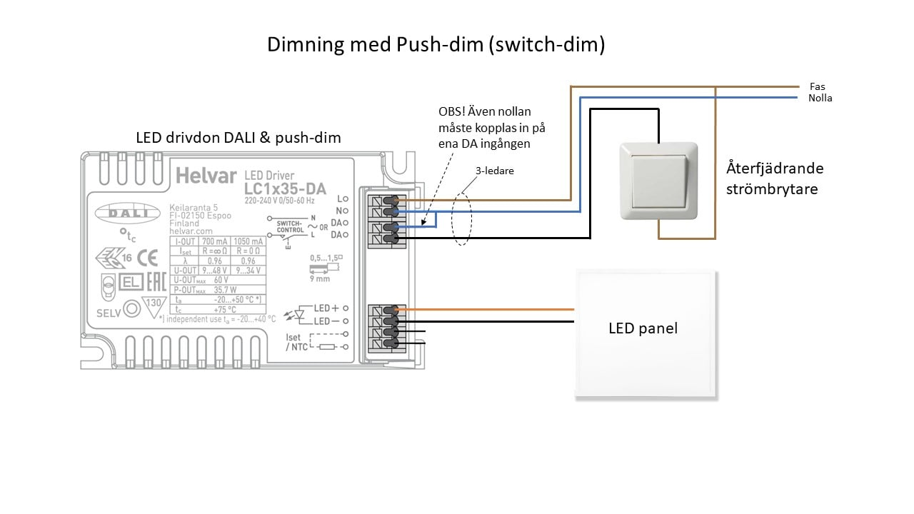 LED dimning installation push-dim